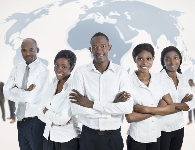 African business team with world map, Studio Shot