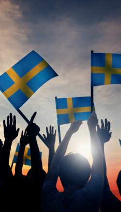 Group of People Waving Swedish Flags in Back Lit