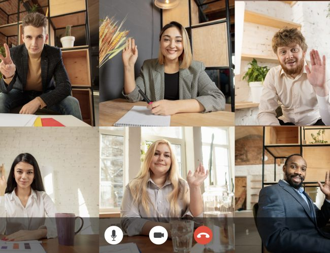 Team working by group video call share ideas brainstorming use video conference. PC screen view with young people, application ad. Easy and comfortable usage concept, business, online, finance.