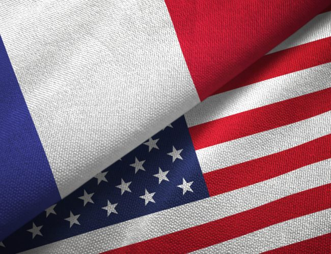 France and United States flags together relations textile cloth, fabric texture